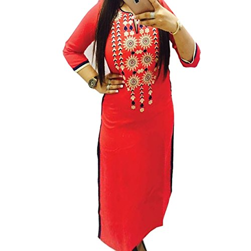 Kesu-Fahion-Woman-Embroidered-semi-stitched-Selfie-Kurti-In-Georgette-Fabric-KUKRT1018Free-SizeRed