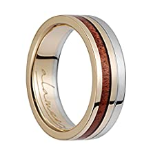 buy 14K Yellow Gold & White Gold Flat Wedding Ring With Koa Wood Inlay - 6Mm