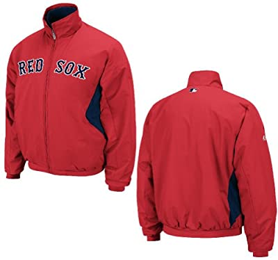 Majestic Youth Boston Red Sox Red Triple Peak Therma Base Premier Dugout Jacket