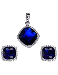 Agarwal Jewellers 92.5 Sterling Silver Pendant Set For Women - B00LC9XJ4C