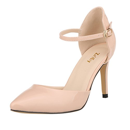 ZriEy Women Patent Leather Mid High Heels Pointed Corset Wedding Party Dress pumps Nude size 5