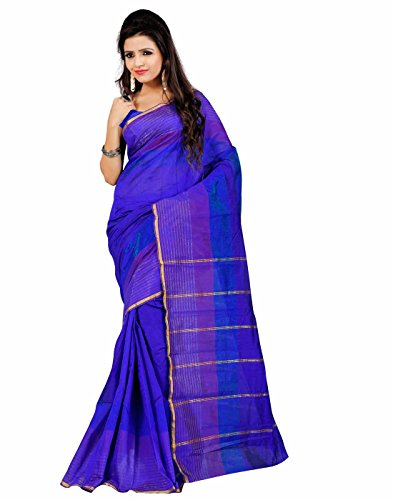 Roopkala Silks & Sarees Women's Poly Cotton Saree (EP-1406_Navy Blue)