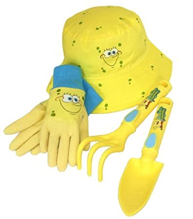 SpongeBob 4 Piece Kids Garden Glove and Accessory Combo Pack