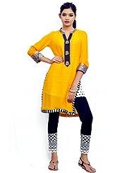 Charu Boutique Combo Of Designer Kurti & Ankle Length Crochet Legging