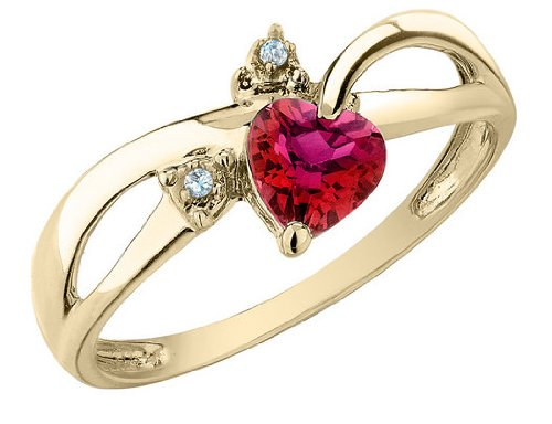 Created Ruby Heart Ring with Diamonds 1/2 Carat (ctw) in 10K Yellow Gold, Size 5.5