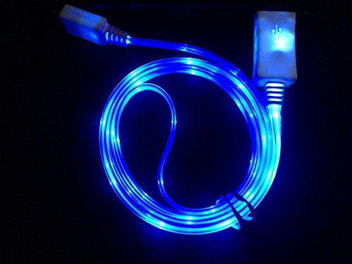 GKG 2 PECES OF IPHONE 6,IPHONE PLUS IPhone 5 LED Charger, Light Up Charging Cable Luminescent Visible Current Smart Charger & Sync Cable for Apple IPHONE 6,IPHONE 6S iPhone 5 5S 5C iOS7 (BLUE) (Lighted Car Charger compare prices)