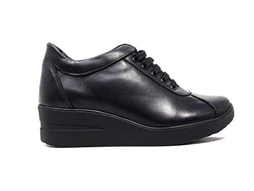 Only I sneakers donna zeppa media pelle nero nuova collezione autunno inverno 2016 2017