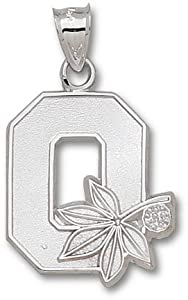 Ohio State Buckeyes 7 8 Block O Pendant - 14KT White Gold Jewelry by Logo Art