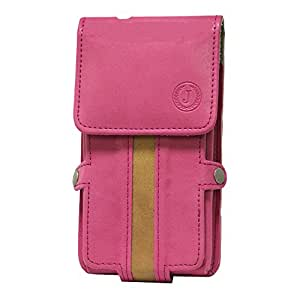 Jo Jo A6 Nillofer Series Leather Pouch Holster Case For Alcatel OT-6034R Pink Tan