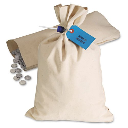 MMF Industries Products - MMF Industries - Heavyweight Cloth Bags, Cotton Duck, 11 x 17 1/2, Natural - Sold As 1 Each - Used by banks, retailers and gaming establishments. - 10-oz. canvas bags with double-stitched seams to hold heavy coins. - Can be secur