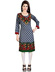 Lookslady Bollywood Fashion Grey Full Sleeve Floral Print Polyester Casual Wear U Neck Long Designer ReadyMade...