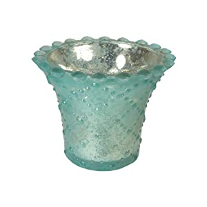 Aqua - Embossed Mercury Glass Votive Holder