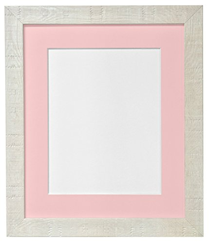 Bilderrahmen A2 Maserung Deep Pink mit Passepartout für A3 Bilderrahmen Glas Kunststoff Größe Off-White