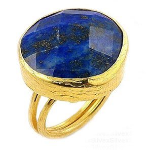 Yellow Gold over Sterling Silver Lapis Right Hand Ring (Size 7)(Nickel Free)