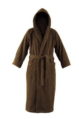 John Christian Luxury Collection - Autumn Brown Terry Towelling Hooded Bathrobe (X-Large)