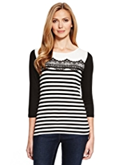 M&S Collection Striped Lace Yoke Top with StayNEW™