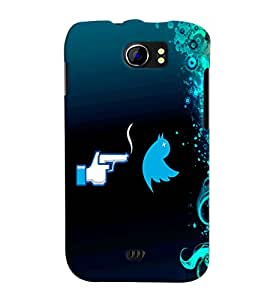 Fuson Blue Bird Pattern Back Case Cover for MICROMAX CANVAS 2 PLUS A110 A110Q - D3779
