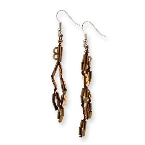 Silver-Tone Brown Bead & Sequin 2in Dangle Earrings
