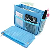 Domire Handbag Pouch Bag in Bag Organiser Insert Organizer Tidy Travel Cosmetic Pocket Makeup Bag ,Blue