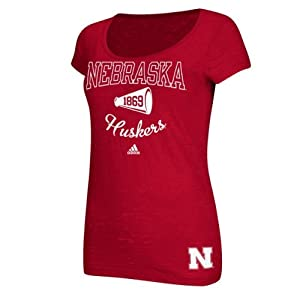 Nebraska Cornhuskers Ladies MegaFan Burnout T-Shirt by adidas