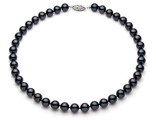 6.5-7mm 14k White Gold Black Akoya Saltwater Cultured Pearl Necklace AA+ Quality, 17