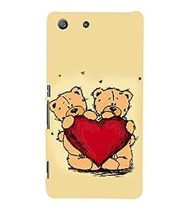 Cute Bears with a Heart 3D Hard Polycarbonate Designer Back Case Cover for Sony Xperia M5 Dual :: Sony Xperia M5 E5633 E5643 E5663