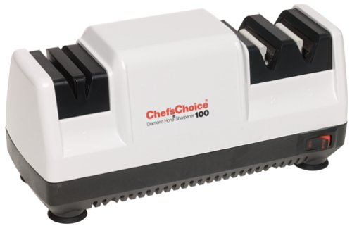 Chef'sChoice 0100000 Diamond Hone Electric Knife Sharpener for Stainless or Non-Serrated Knives, 3-Stage, White