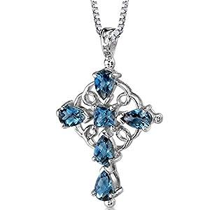 London Blue Topaz Cross Pendant Necklace Sterling Silver Rhodium Nickel Finish 2.50 Carats