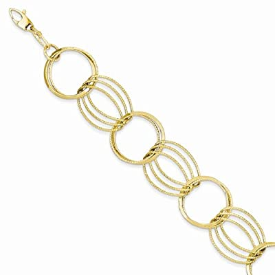 14k Yellow Gold Polished and Textured Hollow w/ext. Bracelet - with Secure Lobster Lock Clasp 7.5""