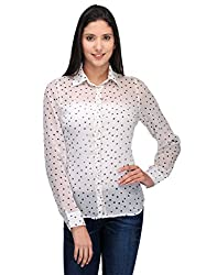 Colornext Chiffon White Shirt for Women (Size: Large)