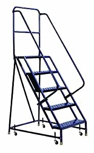 Louisville Ladder GSW1605 Rolling Warehouse Ladder with 16-Inch Step Width and Handrails, 50-Inch Platform Height, 5-Step