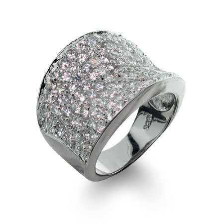 Sterling Silver Diamond Cubic Zirconia Pave Glam Ring Size 9 (Sizes 6 7 8 9 Available)