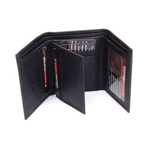 Imagen de Cuero del Mens trifold wallet 10 ranuras para tarjeta de 2 identificaciones 2 Bill Secciones Swiss Alpine Capacidad extra Negro