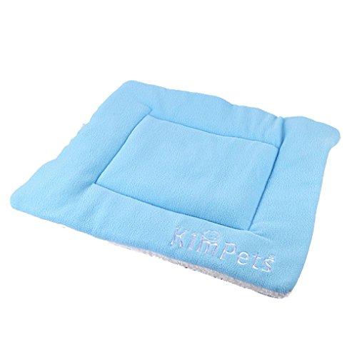 Outtop Kimpets® Pet Bed Mats Coral Velvet Stuffed Bed Sleeping Mat Cushion for Small Dogs and Cats, Rectangle, 50cm x 42cm/19.7″ x 16.5″ (Blue)