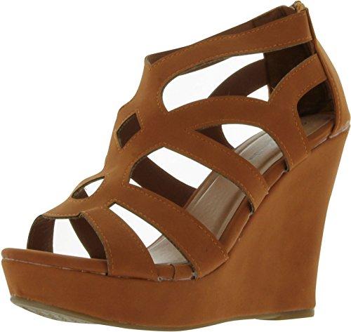 Top Moda Womens Ella-15 Fashion Wedge Sandals TAN 8.5