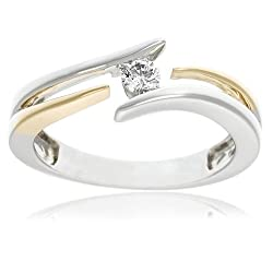 14k Two-Tone Gold Diamond Bypass Ring (1/8 cttw, H-I Color, I1 Clarity)