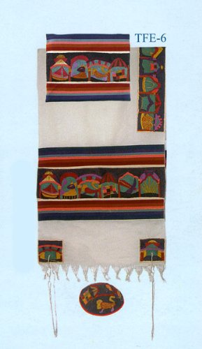 Emanuel All Embroidered Tallit Set - 12 Tribes, 61 x 77