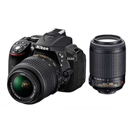 Nikon D5300 Digital SLR Camera (Black) with AF-S DX 18-55mm VR II and AF-S DX 55-200mm VR II , Double Zoom Kit with 8GB Card, Camera Bag
