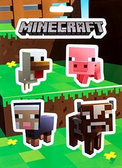Minecraft Logo & Baby Animals Chicken Pig Cow Sheep Sticker Party Favor Birthday by J!NX