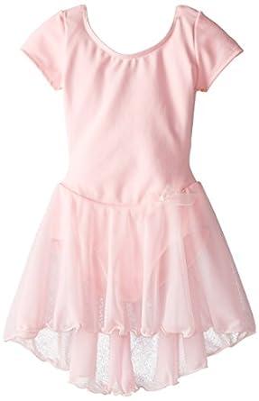 Capezio Little Girls' Short Sleeve Nylon Dress,Pink,I ( 6-8)