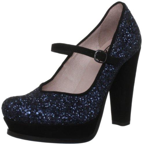Fornarina - Scarpe col tacco 8205 Donna, Blu (Blau (Petrol Glitter/Suede)), 37