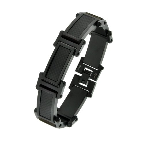 Stainless Steel Carbon Fiber and Black Ionic Plating Link Bracelet, 8.5″