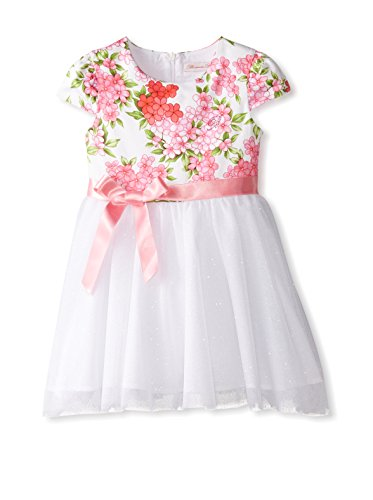 Miss Blumarine Kid's Cap Sleeve Floral Dress with Tulle Skirt