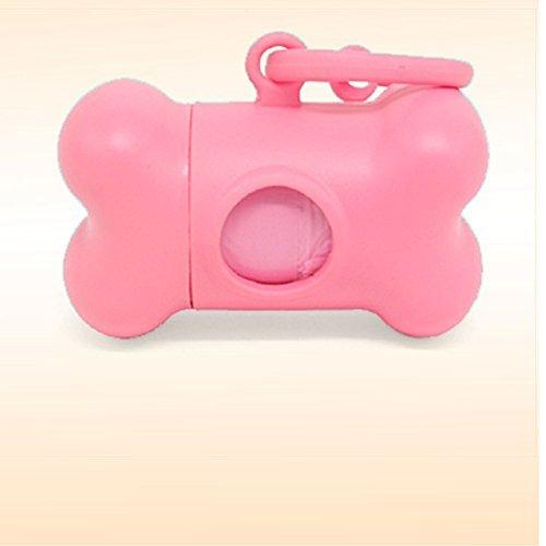 Water & Wood Pink Bone Shape Dispenser Box + Pet Doggie Garbage Trash Clean-Up Bag