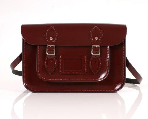 "12"" Oxblood Red English Leather Satchel Classic Retro Fashion laptop / school bag"