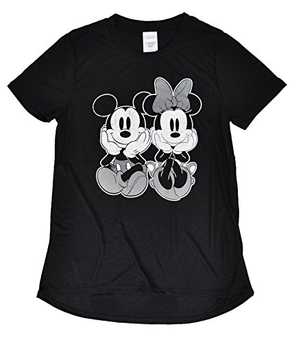 [Disney Juniors Minnie and Mickey Mouse Crewneck Jersey T-Shirt (Black Classic Pair, Large)] (Cute Kid Halloween Songs)
