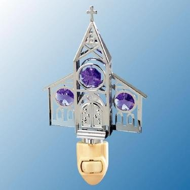Chrome Church Night Light - Purple Swarovski Crystal