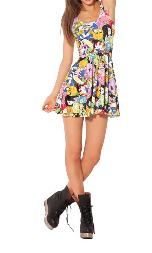 Women'S Pleated Knee-Length Adventure Time Bro Ball Pattern Skater Dress