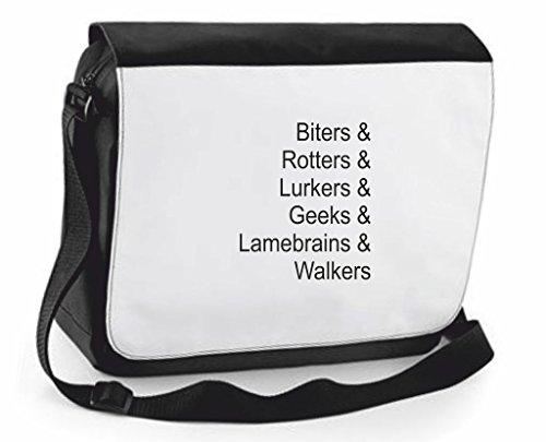 Zombie nomi Biter Lurker Walker-Borsa a tracolla Messenger, Borsa a tracolla, borsa da viaggio, Black, Large (Nero) - SB-zombie-names-Black-L