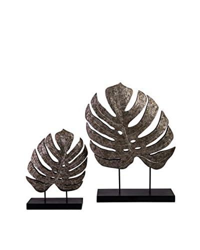 Set of 2 Silver Antiqued Leaves
